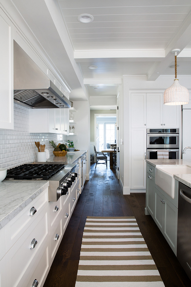beveled subway tile kitchen matte black faucet inspiring white with light blue island - home ...