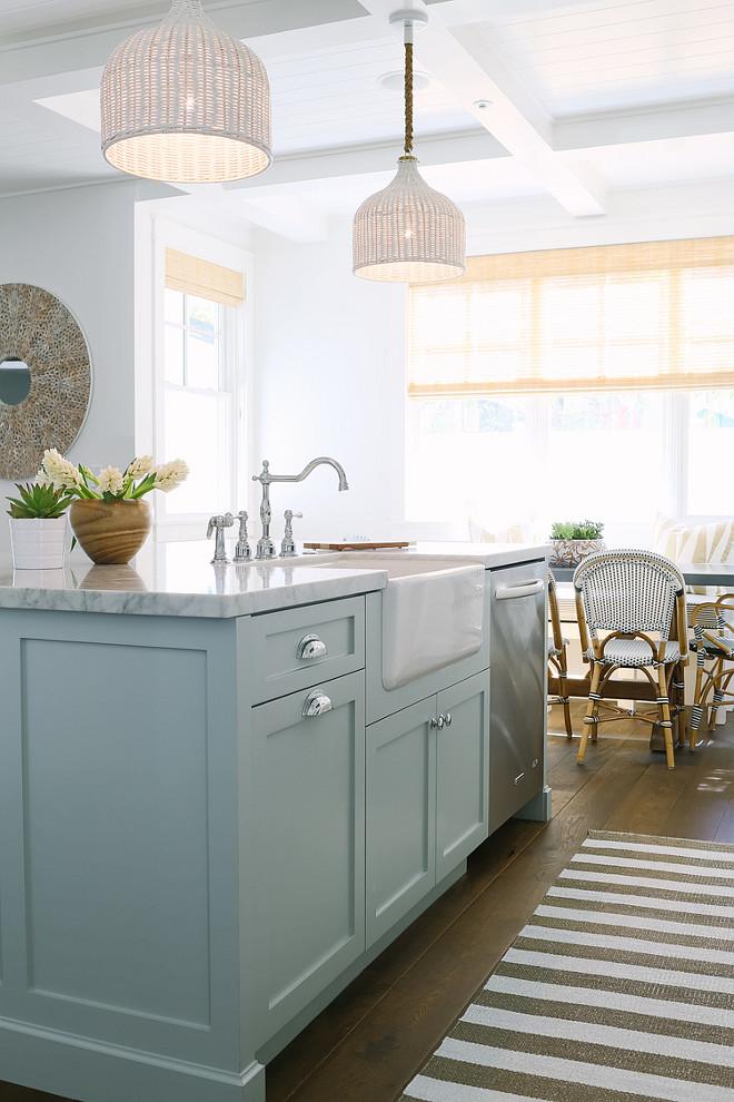 Inspiring White Kitchen Light Blue Island Home