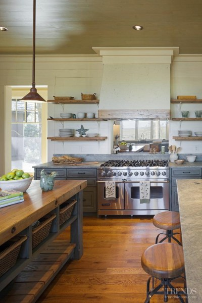 open rustic kitchen cabinets Rustic Cottage with Neutral Interiors - Home Bunch