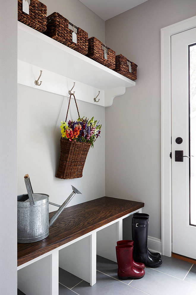 Mud room paint color. Gray mud room paint color. Gray mudroom paint color is Benjamin Moore HC-170 Stonington Gray. The cabinets are also Ben Moore, in Simply White OC-117. #mudroom #Gray #paintColor #BenjaminMooreHC170StoningtonGray #BenjaminMooreSimplywhite