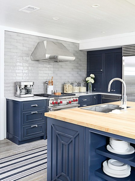 navy blue painted kitchen cabinets Small Interior Ideas Interior Design Ideas - Home Bunch