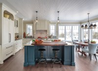 Farmhouse Kitchen with Blue Island - Home Bunch Interior ...