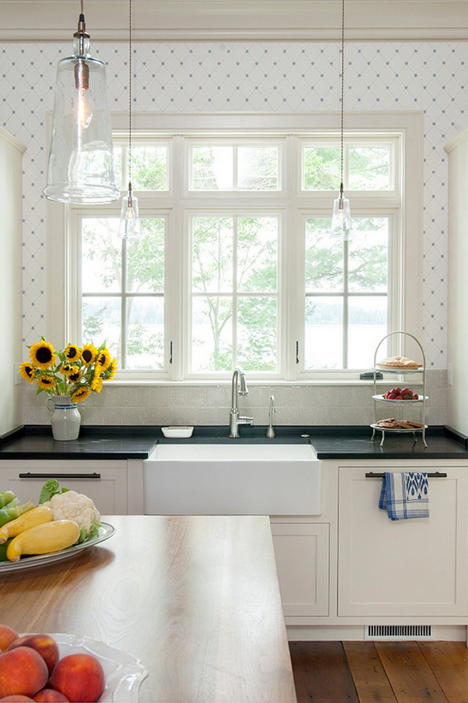 kitchen backsplash wallpaper easy remodel maine beach house with classic coastal interiors - home ...
