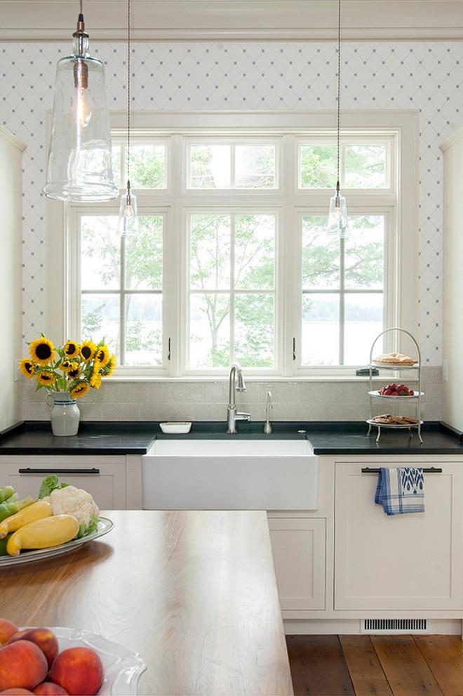 blue kitchen backsplash tile led lighting maine beach house with classic coastal interiors - home ...