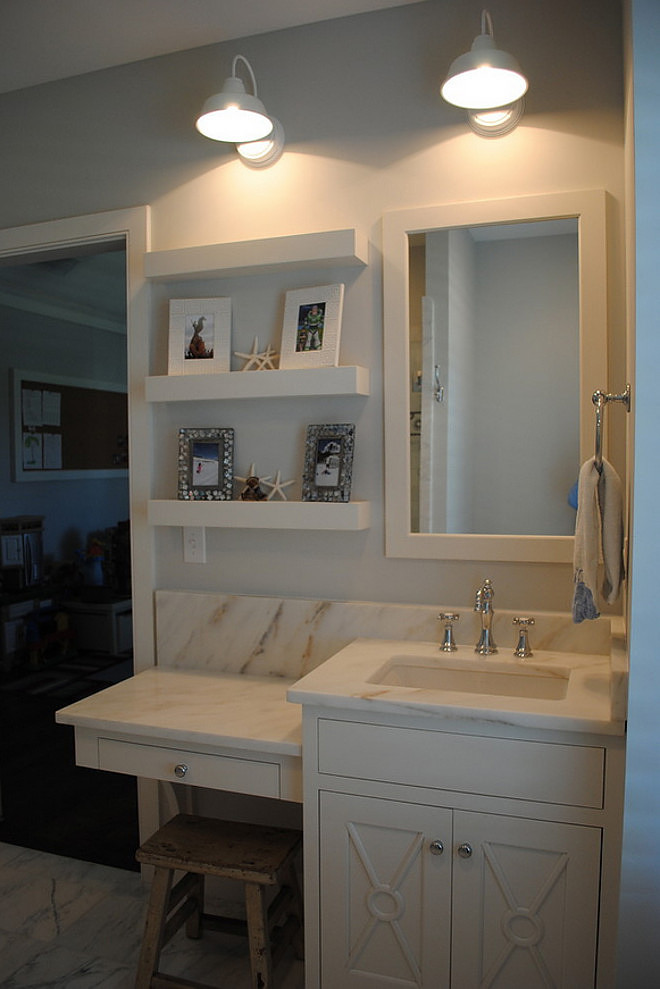 Small Bathroom Cabinet Ideas. Small Bathroom Cabinet Layout. This bath features custom inset cabinets with Imperial Danby countertops and Barn Light Electric sconces. #SmallBathroom #Smallbathroomcabinet