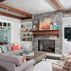 Cozy Living Room Colors Decorating Ideas For Plant Shelves In Lakefront Cottage With Coastal Interiors - Home Bunch ...