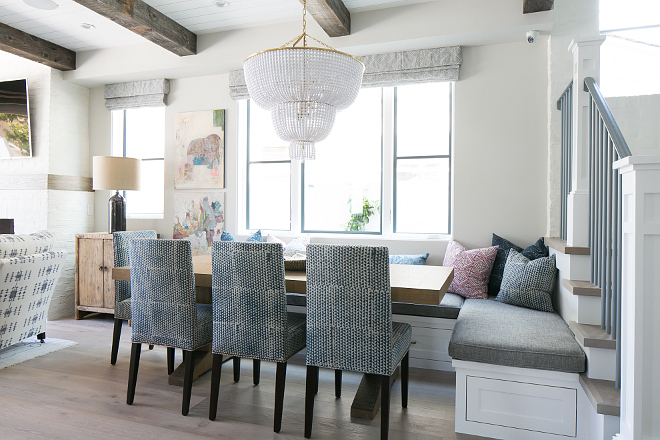 Villages Indigo Cotton by Walter-G. The fabric on the chairs is Villages Indigo Cotton by Walter-G. Villages Indigo Cotton by Walter-G. #VillagesIndigo #WalterGFabric Patterson Custom Homes