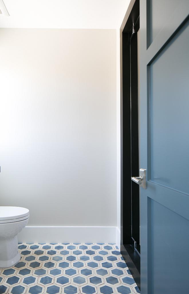 "Cement Bathroom Floor Tiles. The floor tile is 5"" Palio Hexagon Mezzanote and off white tile. #bathroom #cementtile #floortiles #cementfloortile Patterson Custom Homes"