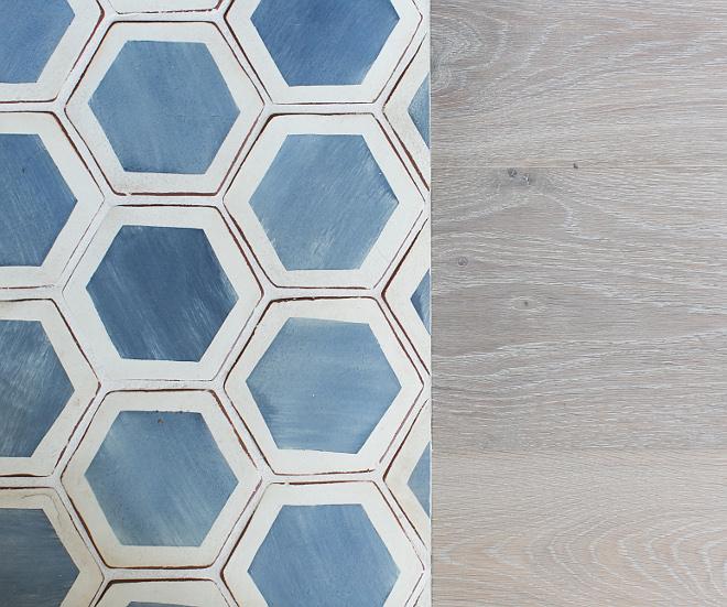 "5"" Palio Hexagon Mezzanote cement tile with Raw European Oak floors. Patterson Custom Homes"
