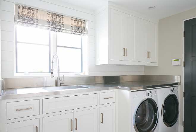 Laundry Room paint color. Wall paint color is Dunn Edwards DEC 774 Shady. Ceiling Paint Color is Dunn Edwards - Suprema Whisper Flat. Patterson Custom Homes