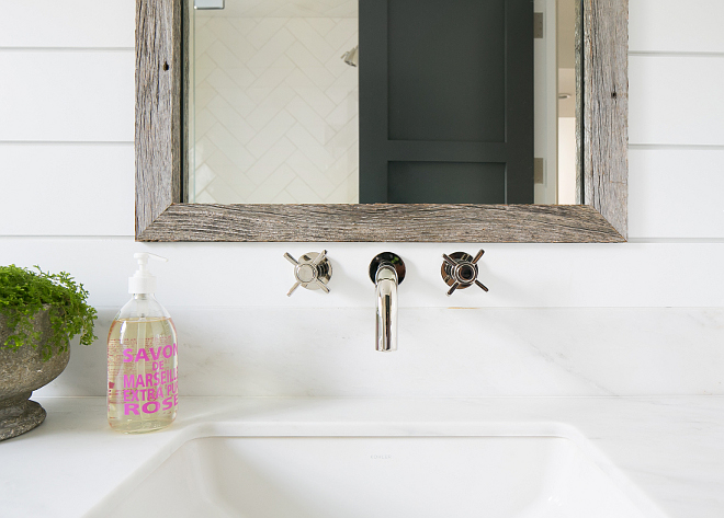 Wall mount bathroom faucet. The wall mount faucet is from Kohler Purist collection. Patterson Custom Homes