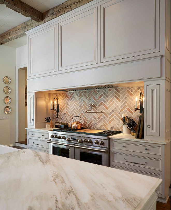Traditional OffWhite Kitchen with Brick Backsplash  Home