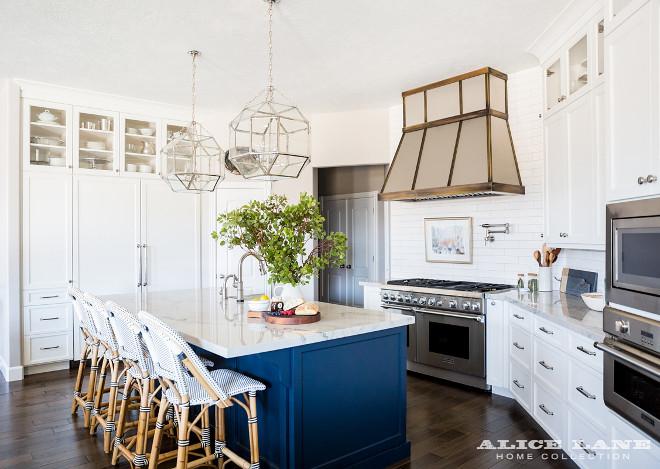 White Kitchen With Navy Blue Island Reno Ideas Home Bunch Interior