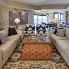 Leather Tufted Chair And Ottoman Crazy Creek Chairs Elegant Florida Condo With Coastal Interiors - Home Bunch Interior Design Ideas