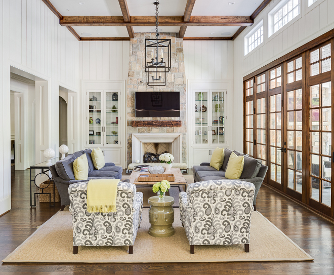 cape cod style house living room ideas with dark brown sofas transitional home bunch interior design shiplap stone fireplace and beamed ceiling
