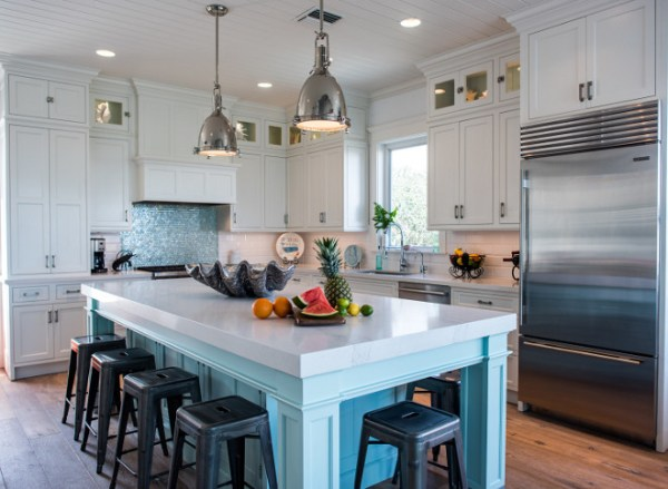 coastal kitchens with white cabinets Coastal White Kitchen with Turquoise Island - Home Bunch