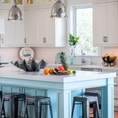 Kitchen Faucet Commercial Style Shelf Over Sink Coastal White With Turquoise Island - Home Bunch ...