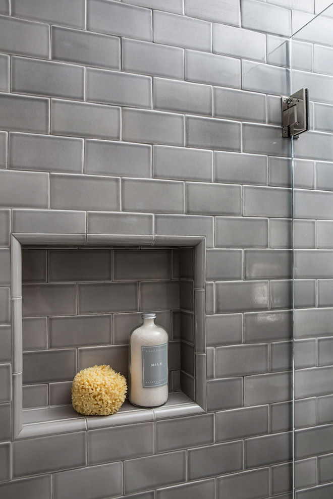 "Shower Niche. Shower niche. The finished size of the shower niche measures approximately 15"" x 15"". Subway tile shower niche. Grey subway tile shower niche. Shower Niche. Shower niche. Subway tile shower niche. Grey subway tile shower niche ideas #ShowerNiche #Showerniche #Subwaytileshowerniche #Subwaytile #shower #Greysubwaytile Robert Frank Interiors"
