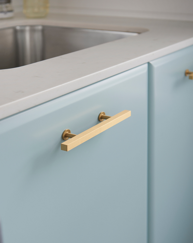 Laundry room brass pulls. #Brass #pulls #hardware Soda Pop Design Inc.
