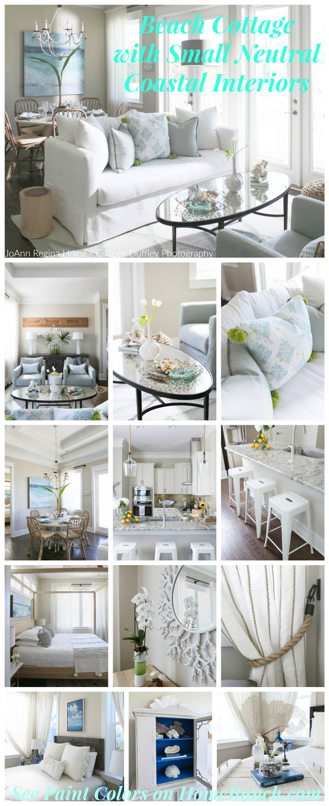 Beach Cottage with Small Neutral Coastal Interiors. Beautiful Beach Cottage with Small Neutral Coastal Interiors w/ interior designer tips. #BeachCottage #Smallinteriors #NeutralCoastalInteriors #NeutralInteriors #CoastalInteriors Home Bunch