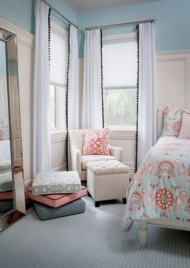 Bedroom Drapery Ideas. Bedroom Drapery Ideas. The bedroom draperies are Serena & Lily. Bedding is Annabel Duvet Cover also from Serena & Lily. Rug is Dash & Albert. Bedroom Drapery Ideas. Bedroom Drapery Ideas #BedroomDrapery #BedroomDraperyIdeas #Bedroom #Drapery Tracy Lynn Studio