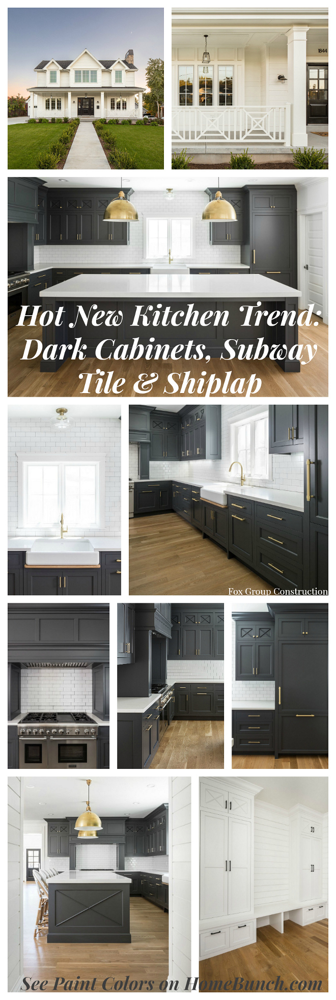 Hot New Kitchen Trend Dark Cabinets, Subway Tile & Shiplap. See paint colors on Home Bunch. #NewKitchenTrend #DarkCabinets #SubwayTile #shiplap #paintcolor