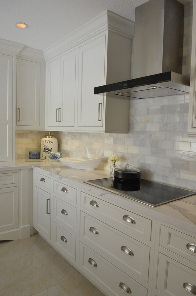 Backsplash. Honed Marble subway tile backsplash #backsplash Waterview Kitchens