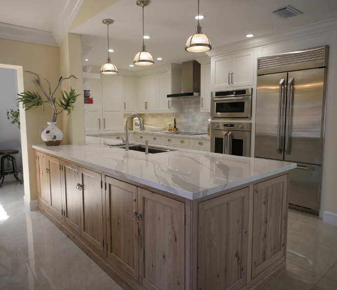 White Kitchen with White Oak Peninsula Island. White Kitchen with White Oak Peninsula Island. White Kitchen with White Oak Peninsula Island #WhiteKitchen #WhiteOakPeninsula #WhiteOakIsland Waterview Kitchens