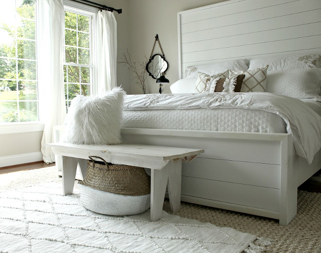 Farmhouse Bedroom shiplap bed. DIY Farmhouse Bedroom shiplap bed. Farmhouse Bedroom shiplap bed and bench. Farmhouse Bedroom shiplap bed #FarmhouseBedroom #shiplapbed #DIYbed #DIYshiplapbed Beautiful Homes of Instagram @middlesisterdesign - Home Bunch