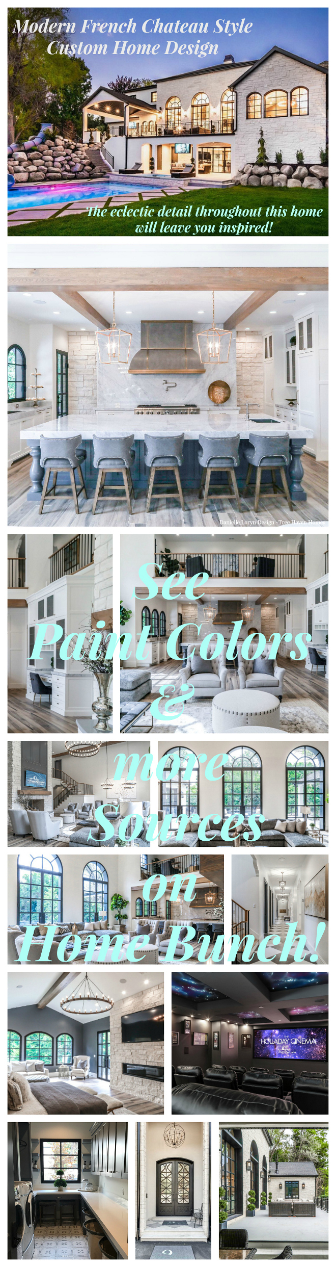 Modern French Chateau Style Custom Home Design. Modern French Chateau Style Custom Home Design Paint Colors and furniture souces #ModernFrenchChateau #FrenchStyleHome #CustomHome #CustomHome Home Bunch