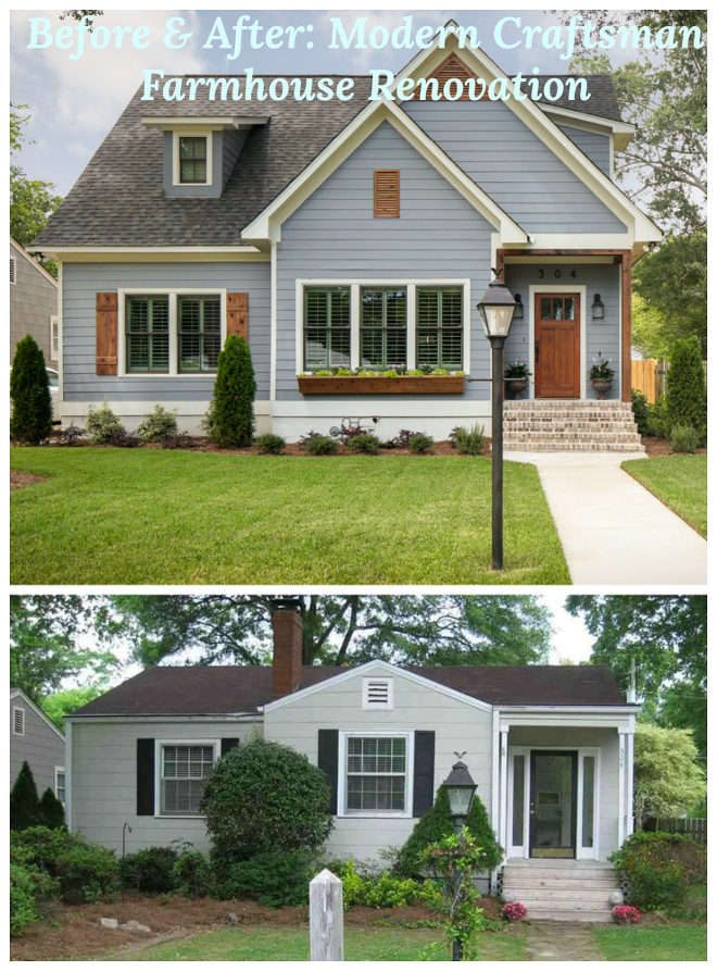 Before and After Modern Craftsman Farmhouse Renovation. See the interiors on Home Bunch #beforeandafter #craftsman #farmhouse