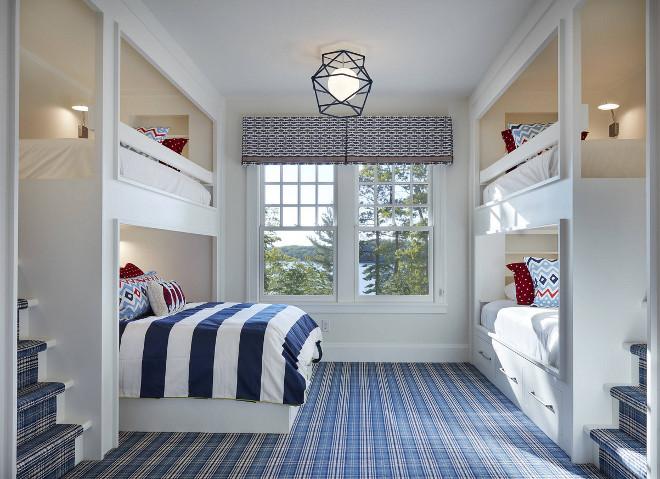 Bunk room flooring. Bunk room with plaid carpet flooring. Gorgeous bunk room with blue and white plaid carpet flooring. Bunk room flooring. Bunk room Plaid flooring #Bunkroom #flooring #Bunkroomflooring #plaid #plaidflooring #plaidcarpet #carpet John Kraemer & Sons