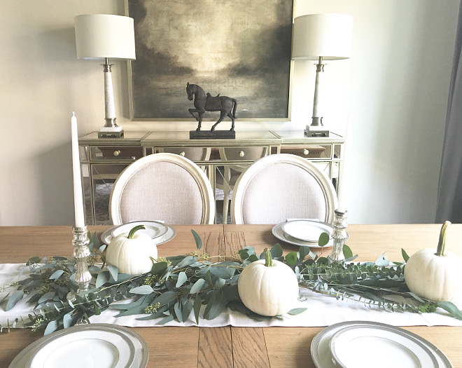Dining room Fall Greenery and White Pumpkin Decor. Dining room Fall Greenery and White Pumpkin Decor. Dining room Fall Greenery and White Pumpkin Decor. Dining room Fall Greenery and White Pumpkin Decor #Diningroom #Fall #Greenery #WhitePumpkins #FallDecor @classicstylehome