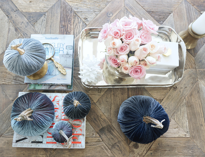Fall Coffee Table Decor. Fall Coffee Table Decorating Ideas. Fall coffee table decor velvet pumpkins #Fallcoffeetabledecor #velvetpumpkins #Fall #coffeetable #Falldecor #velvet #pumpkins @myhouseoffour