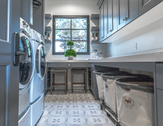 Grey laundry room with cement tile. Floor tile is Bedrosian Stonepeak deco tile. Grey laundry room with cement tile. Grey laundry room with cement tile. Grey laundry room with cement tile #Greylaundryroom #cementtile