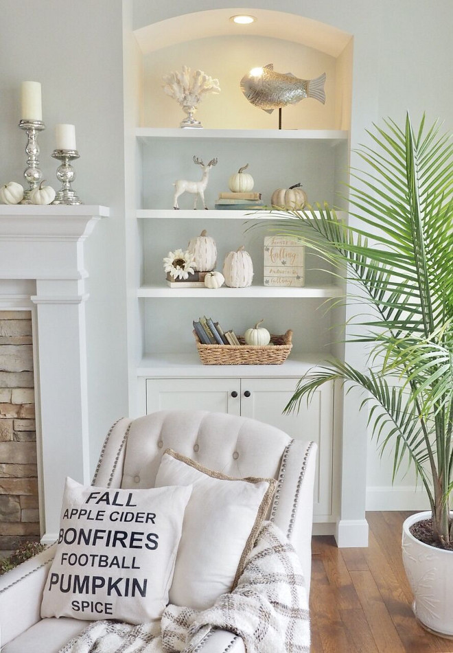 White Pumpkins add a Fall vibe to your bookshelves without being over-the-top. @WowILoveThat
