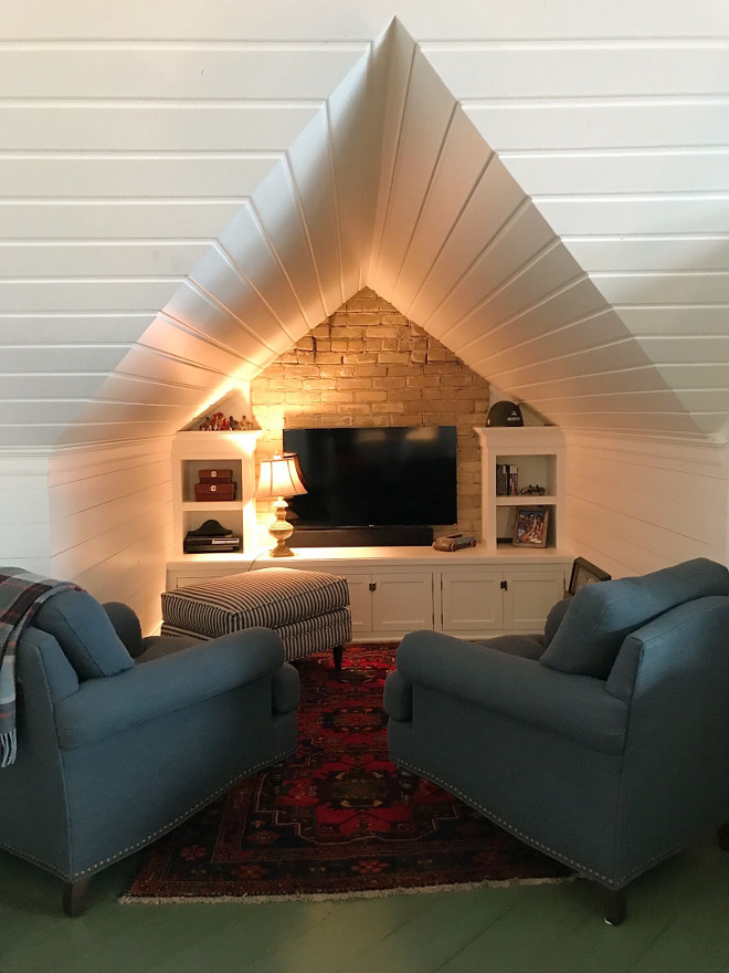 Attic TV Nook with Shiplap wall and shiplap ceiling. Attic TV Nook with Shiplap wall and shiplap peaked ceiling. Attic TV Nook with Shiplap wall and shiplap ceiling. Attic TV Nook with Shiplap wall and shiplap ceiling.Attic TV Nook with Shiplap wall and shiplap ceiling. Attic TV Nook with Shiplap wall and shiplap ceiling #Attic #TVNook #Shiplap #shiplapceiling #peakedceiling Beautiful Homes of Instagram @SweetShadyLane