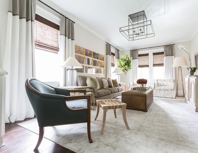 Classic Modern Living room design and decor. Paint Color is Benjamin Moore Athena. #livingroom #benjaminmooreathena  Marie Flanigan Interiors