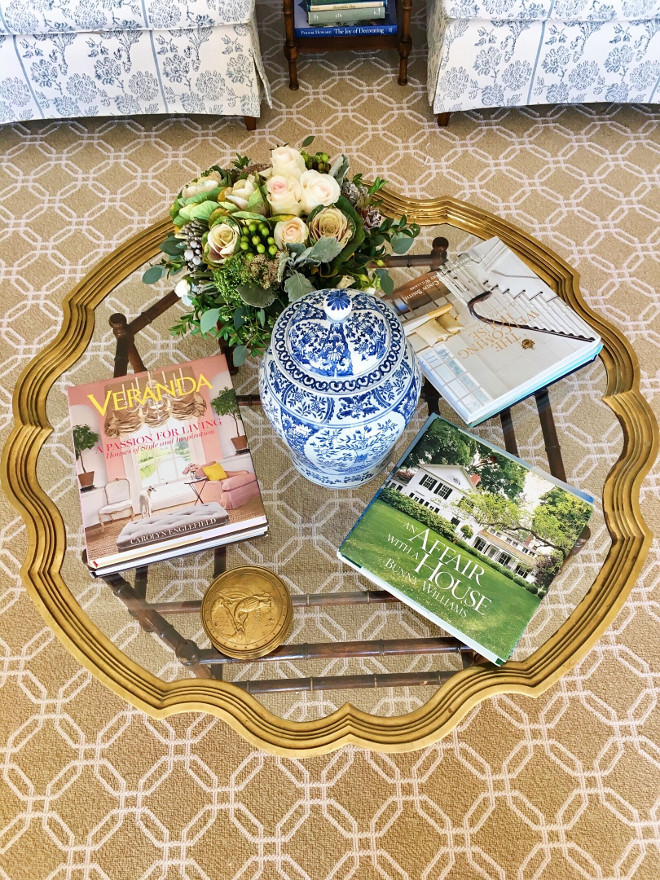 Coffee Table Decor. I adore design books and often look through them for inspiration. I'm amazed at how often I notice something I never saw before. Countless design inspiration just a reach away. #coffeetabledecor Beautiful Homes of Instagram @SweetShadyLane