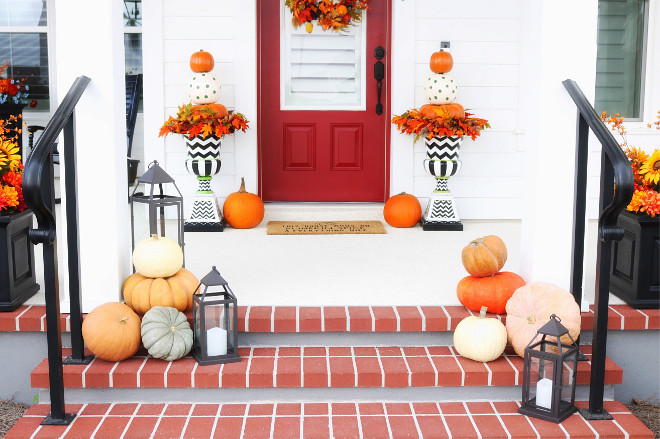 Creative fall decor with faux pumpkins and chevron planters. Chevron Planters are Zoey Urns from Grandin Road. Who is Victoria Taylor