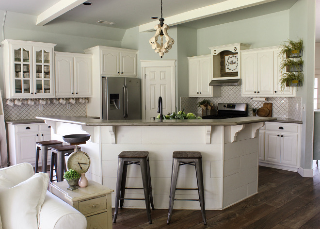 DIY Shiplap island. DIY shiplap kitchen island. DIY shiplap kitchen island painted in Sherwin Williams Alabaster. DIY shiplap using pine underlayment cut into 8in strips and painted SW Alabaster #DIYshiplapisland #diykitchenisland #diyshiplapkitchenisland Home Bunch Beautiful Homes of Instagram @cottonstem