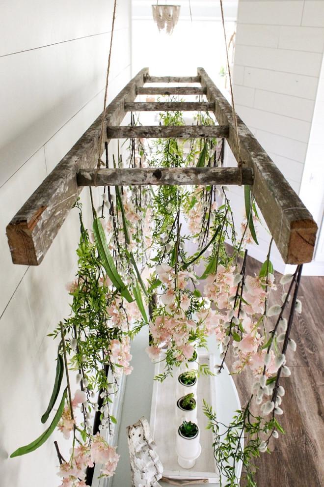 DIY Tutorial. DIY Tutorial DIY hanging faux flowers using vintage ladder and threat. DIY Tutorial. DIY Tutorial. DIY Tutorial #DIY #Tutorial #DIYTutorial Home Bunch Beautiful Homes of Instagram @cottonstem