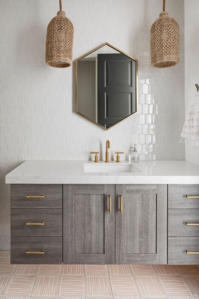Girls Bathroom with greywashed oak vanity, Floor tile is Laid in an alternating pattern. Floor tile is Cle Tile -Cement Tile- Encaustic Victoria Larson, laid in an alternating pattern. The lotus wall tile is Villa Heirloom Linen Lotus Porcelain Mosaic #Girlsbathroom #tile #patternedtile #bathroom #oakvanity A Finer Touch Construction