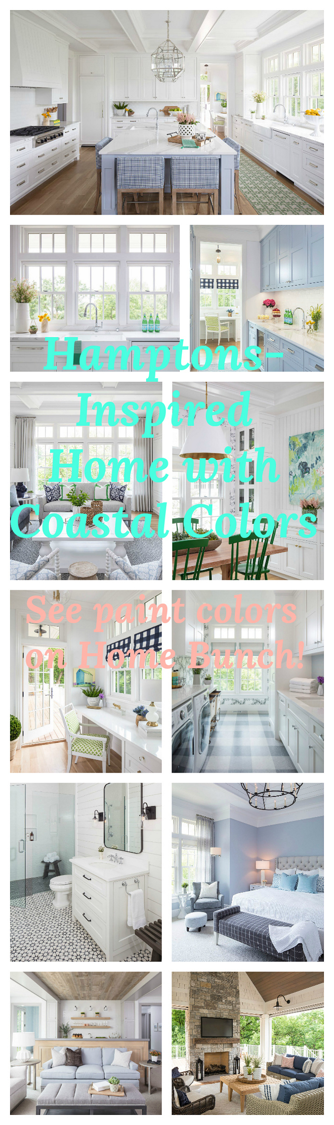 Hamptons-Inspired Home with Coastal Colors. See decor, lighting, furniture and paint color sources on Home Bunch. Hamptons-Inspired Home with Coastal Colors. Hamptons-Inspired Home with Coastal Colors. #HamptonsInspiredHome #CoastalColors Home Bunch