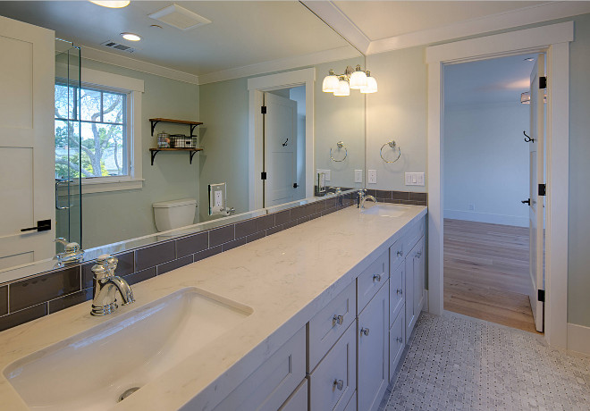 Jack and Jill bathroom paint color Sherwin Williams Sea Salt. Boys and girls bathroom paint color Sherwin Williams Sea Salt #SherwinWilliamsSeaSalt AK Construction