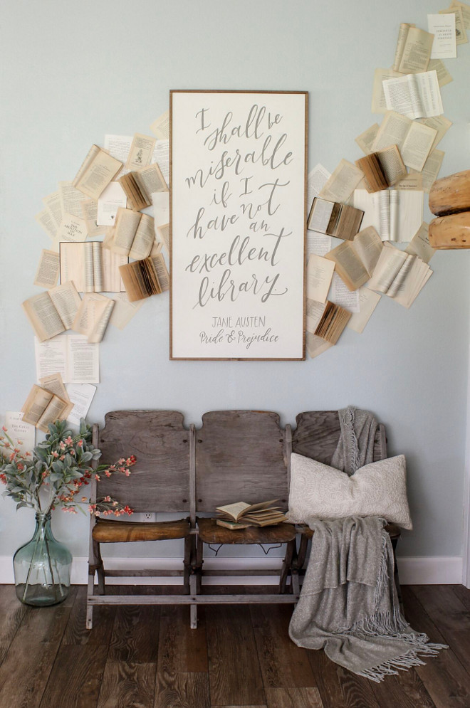 DIY ideas. DIY book wall using vintage books / vintage theater chairs sourced locally. Wall paint color is Sherwin Williams Sea Salt. Sherwin Williams Sea Salt #DIYideas #SherwinWilliamsSeaSalt Home Bunch Beautiful Homes of Instagram @cottonstem