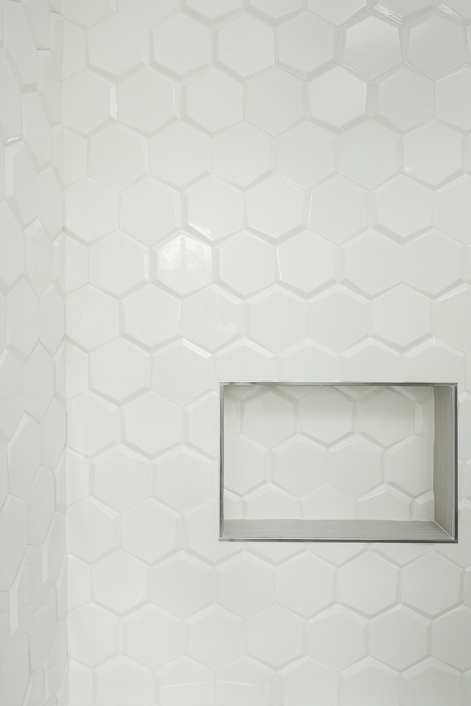 "Beveled Hex Tile Beveled Hex Tile Shower Beveled Hex Tile Shower features a 6"" matte beveled hex tile #shower #BeveledHexTile"