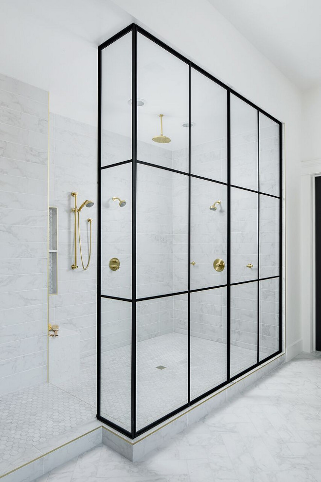 Black shower frame. Custom black shower frame. This is the ultimate Shower! One of the key components in this master bath was the large master shower, capped off with 12-foot ceilings and a dry-off area. Our interior then hit a homerun with their product selections. The colors, layout and patterns all tied in perfectly. They had tremendous vision when putting these choices together. One of our favorite elements is the gold trim all around the shower, soap niche, and curb. The Newport brass plumbing fixtures, Cambria quartz shower bench, and black shower frame were the cherry on top. Black shower frame. Black shower frame, Black shower frame. Black shower frame #Blackshowerframe A Finer Touch Construction