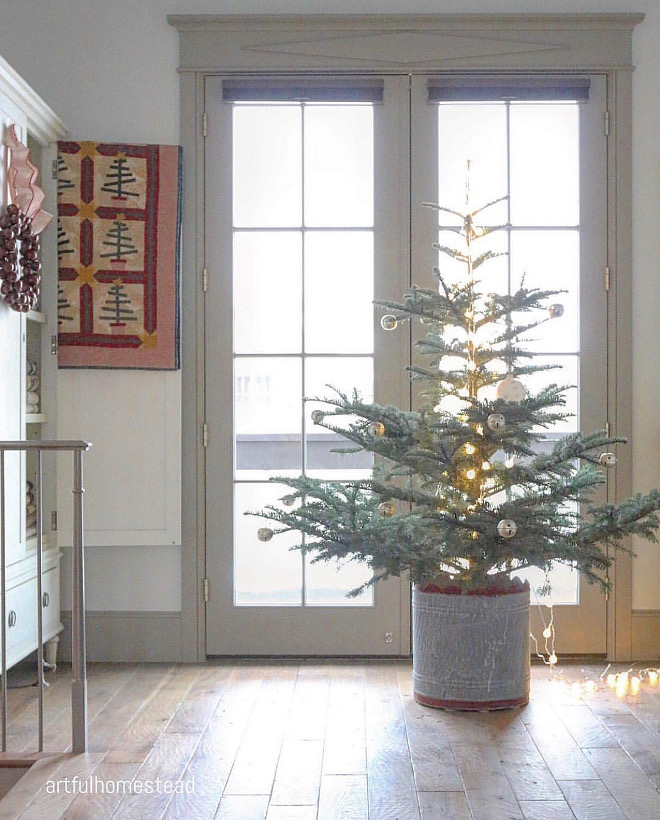 Farmhouse Christmas Tree Farmhouse Christmas Tree with zinc planter