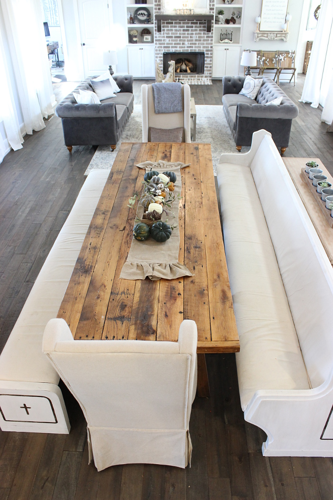 Farmhouse Dining room This room also holds our 10-foot farmhouse table and reclaimed church pews for a central dining area #farmhousediningroom #farmhousediningtable Beautiful Homes of Instagram Home Bunch